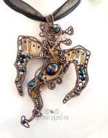 Steampunk dragon pendant by ukapala
