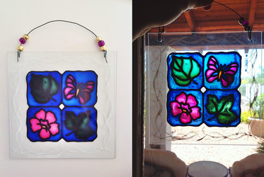Faux Stained Glass Leaves, Butterfly, Flower by pinkythepink