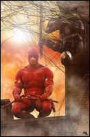 Daredevil and Black Spidey Team Up. by MarcMons007
