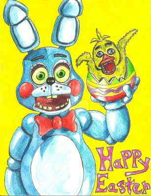 Easter Bonnie and Baby Chick Chica by MugenPlanetX