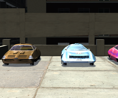 SHADO cars on parking deck by LionkingCMSL
