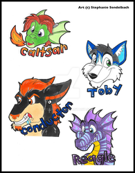 Caltsar, Conductor, Toby, and Reagle Badges by toonartt