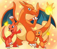 Charmander and Evolutions by X-BlackPearl-X