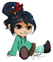 Vanellope in Pixels by Curly-Qs