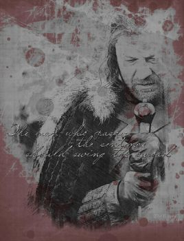 Eddard Stark II  Swing the sword by TheRavenArt