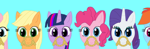 Front View Roped Ponies by Eli-J-Brony