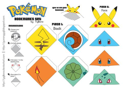 Pokemon Bookmarks Set [DOWNLOAD] by yujilono