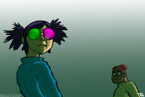 Gorillaz - Noodle and Russel Duo by last69skulls