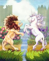 Lion and Unicorn Papercut by calzephyr