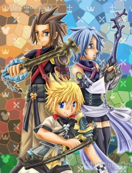 Kingdom Hearts Birth By Sleep - Trio in action! by oOFlorianeOo