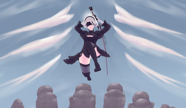 Nier battle scene by SnailCat