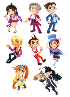 Ace Attorney - Stickers/Magnets by Kosmotiel