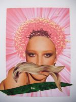 Moustache Lady Collage by Probiscuit
