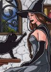 Witch Metal Sketch Card - Hallowe'en Witchcraft by ElainePerna