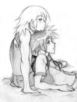 Riku leaning on Sora by mangacat