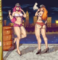 Poison and Roxy (Final Fight) -  Commission by Mick-cortes