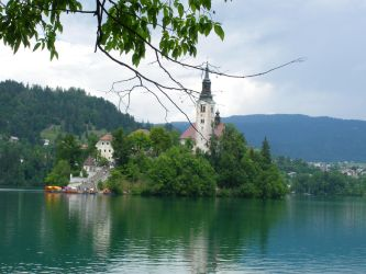 Church on the island in the Bled's lake by Moriquesse