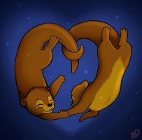 Otters in Love by arosyks