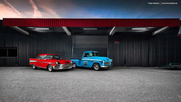 57 Bel Air + 55 Chevy 3100 - Shot 10 by AmericanMuscle