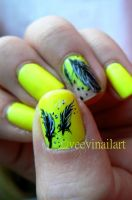Feathers on hi-light yellow by VeeviS2