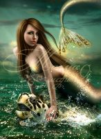 Mermaid and turtle by mashamaklaut