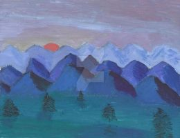 Serene Blue Mountains by Daryl-the-cartoonist