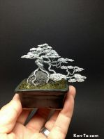 Cascade ROR Mame wire bonsai Tree by Ken To #2 by KenToArt