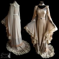 gown and cloak, dreamy, art nouveau, ghostly by SomniaRomantica