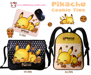 Pikachu mouse pad, messenger bag and backpack by tho-be