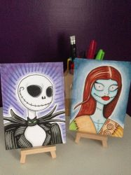Jack Skellington and Sally maker sketch cards by kirstyhannam