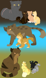 Medicine cats and their kits by MirrorFlygon