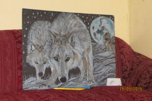 White Wolves Drawing by skrillex8