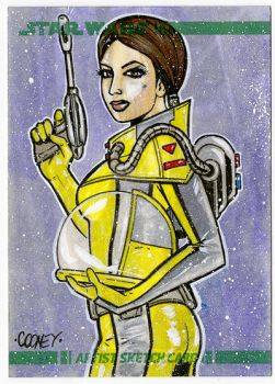 Cooney Padme Hazmat Suit Sketchcard by dcooneyart