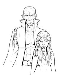 Tomini and young Omni - sketch by Mekari