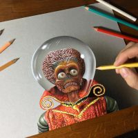 Portrait of the Martian Leader from Mars Attacks by marcellobarenghi