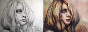 Reverie Sketch vs Painting by MichaelShapcott