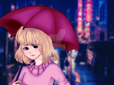 The Girl with the Umbrella by Shinkomi
