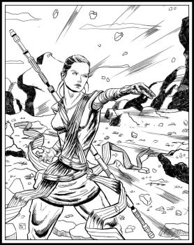 Rey using the Force by ElieBongrand