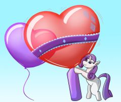 Commission - Rarity and Heart Balloons by Thiridian