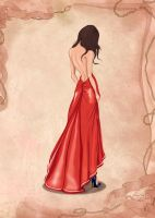 Girl in Red Dress Fashion Illustration  BasakTinli by BasakTinli