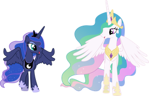 Happy Princess Celestia and Princess Luna by 90Sigma