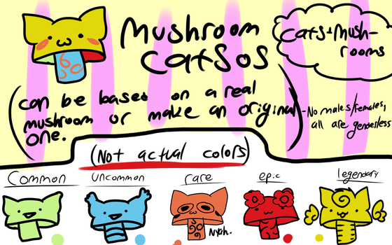 (Open species) Mushroom cats! by Cries-In-Russian
