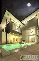 3D Night View Exterior Modeling by 3dinteriorrendering