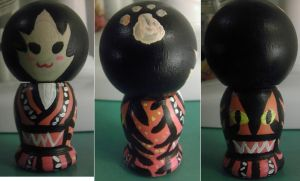 Japanese Kokeshi Tiger Doll by Froggy-Spaztastic