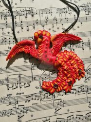 Rising Phoenix - Polymer clay pendant SALE by Gyemese
