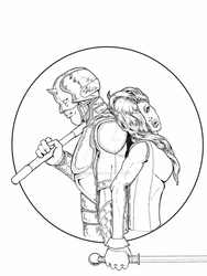 Daredevil and Elektra inked by richards9999