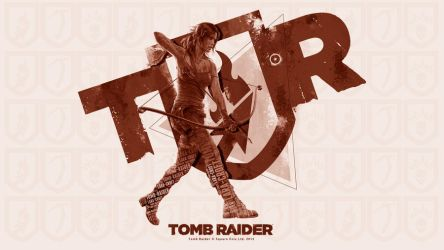 TOMB RAIDER Shield Poster Red Sepia by Mikky100