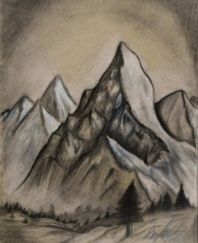 Moutains On Tan Paper by TravelingArtist93