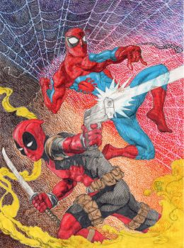 Deadpool and Spider Man by kevinesque