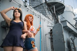 Nami and Robin Dressrosa One Piece Cosplay by firecloak